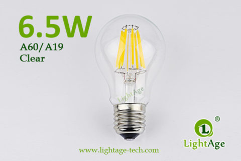 A60-A19 led filament bulb Clear 6.5W