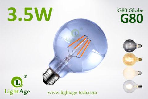 LED Globe G80 3.5W smoked bulb