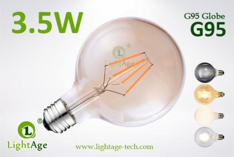 LED Globe G95 3.5W amber filament