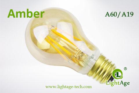 amber A60 LED Filament Bulb