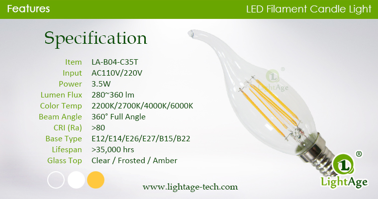 LED Filament Tailed Candle-specification