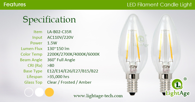 led-filament-candle-c35r specification