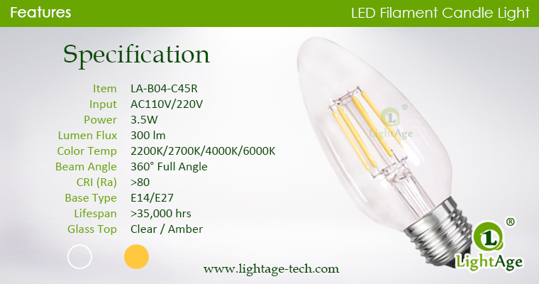 led-filament-candle-c45r-4w specification
