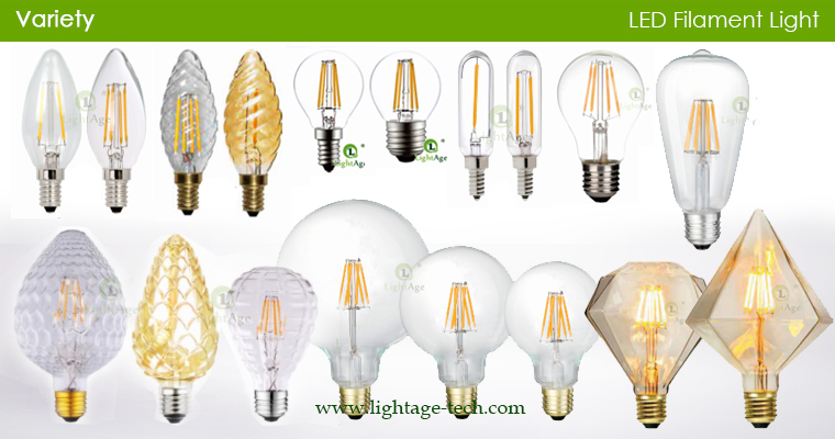 lightage led filament bulbs multi-shapes-multi-colors
