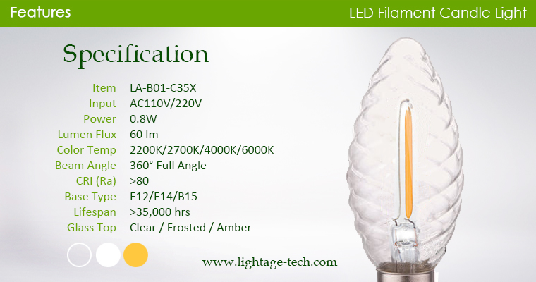 spiral-glass-led-candle-c35x specification