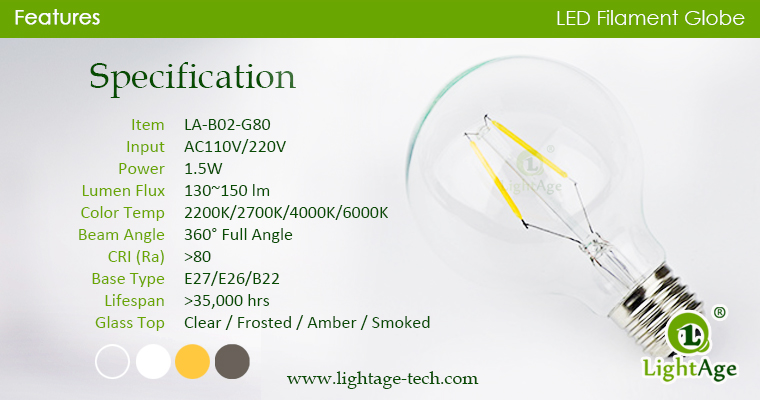 1.5w G80 LED Globe specification