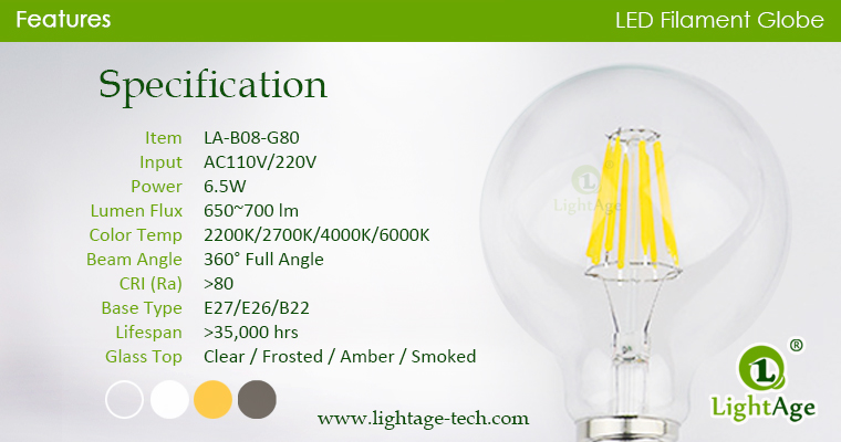 6.5W G80 filament LED specification