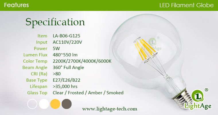 G125 LED Bulb 5w specification