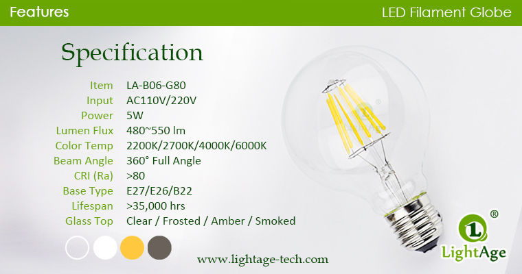 G80 LED Bulb 5W specification