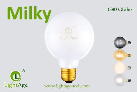 G80 filament LED Globe Milky