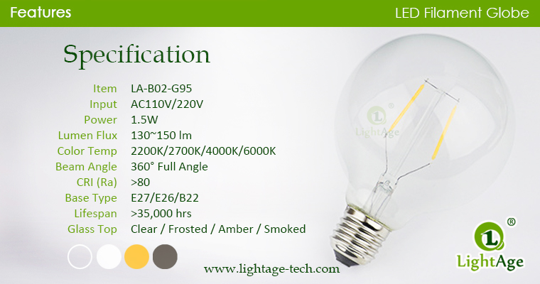 G95 LED Globe 1.5w specification