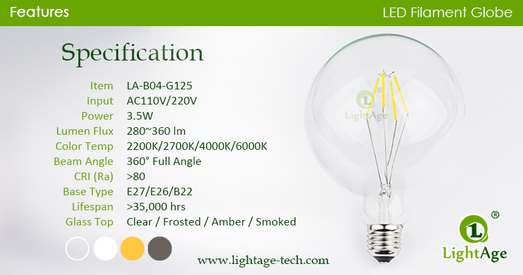 LED Globe G125 3.5w specification