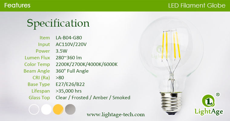 LED Globe G80 3.5W specification