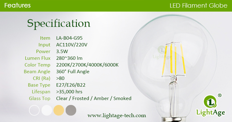 LED Globe G95 3.5W specification